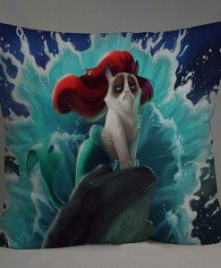 grumpy cat as mermaid Pillow Case