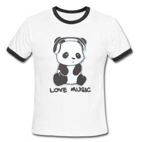 Panda Love Music Ringer Shirt