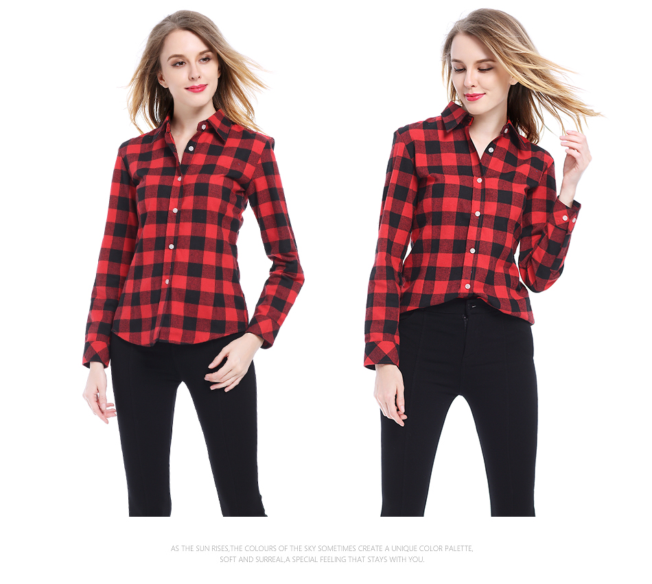 Flannel plaid shirt woman blusas shirt casual long sleeve for Flannel plaid shirts for women