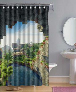 Bathroom Minecraft Creeper Shower Curtain