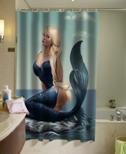 trampy mermaid shower curtain