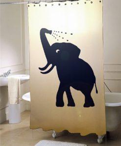 Bathing Baby Elephant Shower Curtain Bathroom Decor