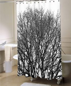 Black and white shower curtain, black and white bathroom decor, tree shower curtain