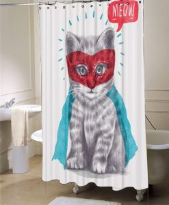 Cat, Shower Curtain, Cute Super Kitty Animal Shower Curtain