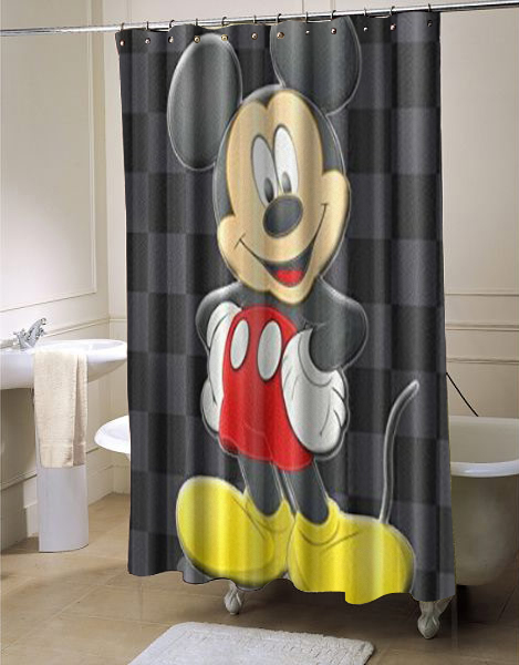 Disney Cartoon Minnie Mickey Mouse Waterproof Shower Curtain