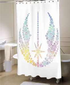 Star Wars Inspired Brightly Colored Jedi Flowers Shower Curtain