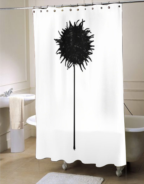 art shower curtain,black and white shower curtain