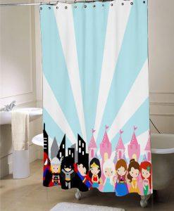 superhero princess shower curtain, blue and pink, princess shower curtain