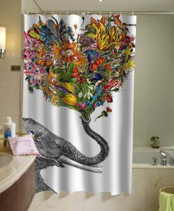 The Happy Elephant shower curtain special custom shower