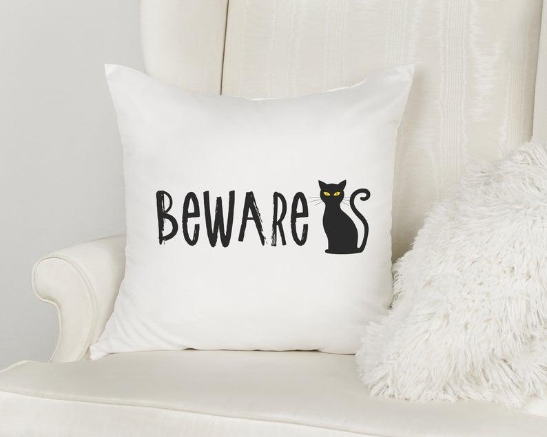 Beware Cat Halloween Pillow Case