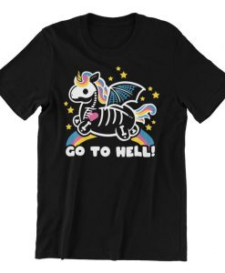 Unicorn Skeleton Go To Hell Funny Halloween T-Shirt