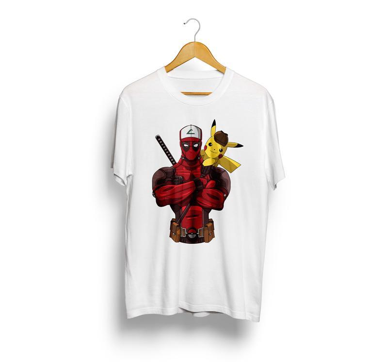 Pikapool Deadpool Pikachu Funny Gift Mashup Anime Comics Unisex Black T-shirt